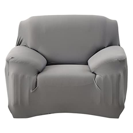 Scorpiuse Stretch Arm Chair Cover 1 Piece Polyester Spandex Fabric Armchair  Slipcover Grey