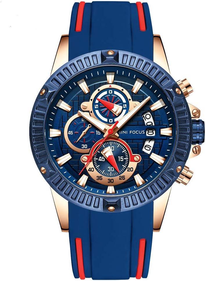 BEUHOME Reloj de Pulsera para Hombre, 30 m, Impermeable, Correa de Silicona, Movimiento de Cuarzo, Reloj de Pulsera Simple con visualización de Tiempo, Casual