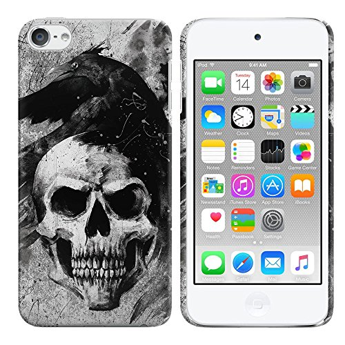 FINCIBO Case Compatible with Apple iPod Touch 5 6th Generation, Back Cover Hard Plastic Protector Case Stylish Design for iPod Touch 5 6 - Gray Skull Raven (Ipod 5th Cases Generation Skull)