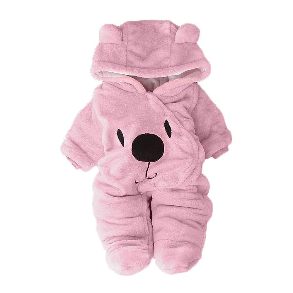 Sagton Newborn Baby Girl Boy Solid Velvet Hooded Jumpsuit Bear Hoodie Romper Clothes (24M, Pink)