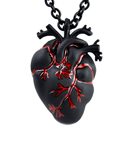 Amazon.com: Black and Bloody Anatomical Heart Necklace Zombie Horror ...
