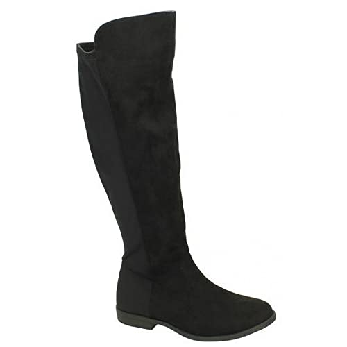 fast color brand new new authentic Spot On Womens/Ladies Wide Leg Knee High Boots: Amazon.co.uk ...