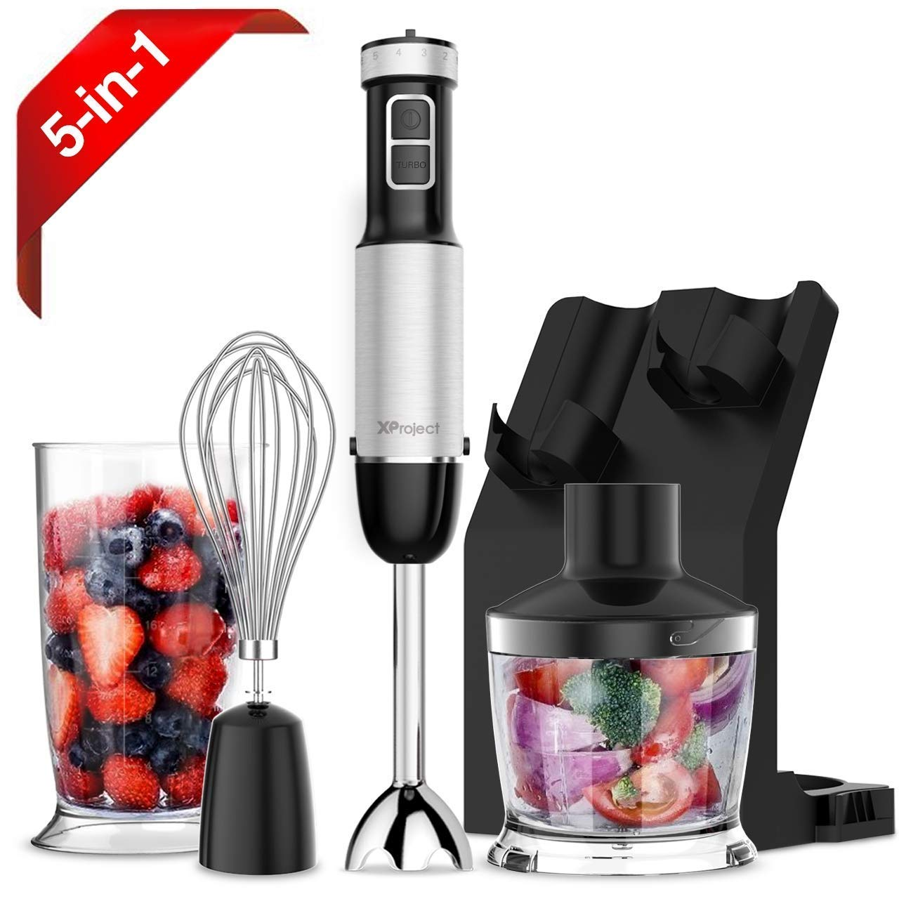 Black HB-2075 Powerful Immersion Blender with 6 Speed Control,500ml Chopper,Whisk,Beaker 700ML,Storage Stand for Kicthen XProject 800W 4-in-1 Hand