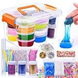 M MOOHAM DIY Slime Kit - 30 Pack Ultimate Crystal Slime Making Kit Includes Crystal Slime, Glitter Slime Containers, Foam Balls, Fruit Slices, Fishbowl Beads for Kids (slime kit)