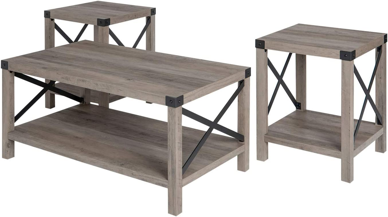 Walker Edison 3-Piece Rustic Wood and Metal Coffee Table Set in Gray Wash
