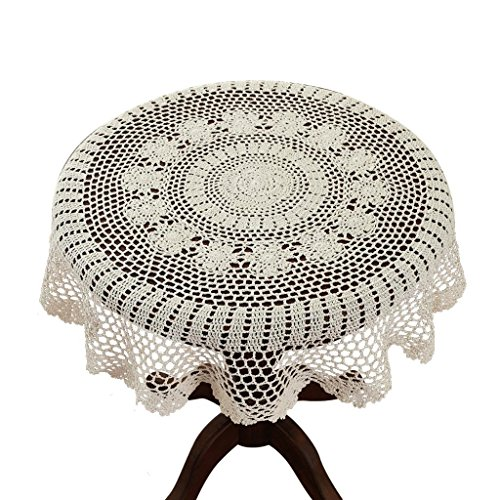 Gracebuy 35 Inch Beige Round HANDMADE Cotton Crochet Lace Tablecloth