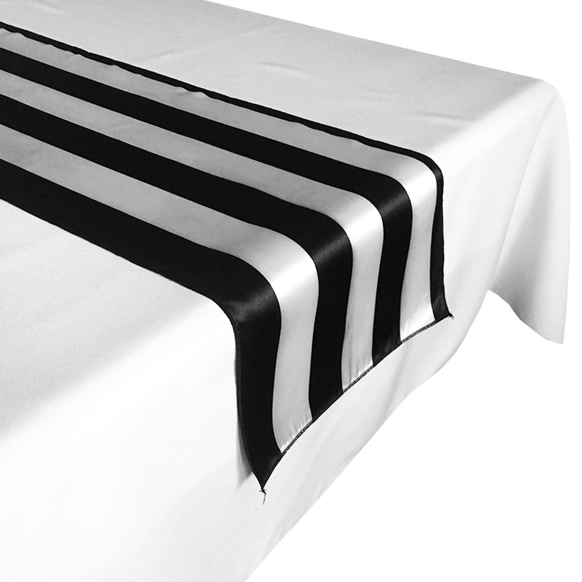 lovemyfabric Pack of 10 Satin 2 Inch Striped Table Runners For Wedding/Bridal Shower Birthdays/Baby Shower and Special Events (Black and White, 12''X72'')