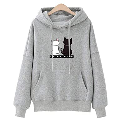 Sweat Capuche Femme, Sweat,Shirt Fille Ado Automne Mignon Chat Pull  Oversize Chic Manteau Pas Cher Mode Sweat Shirt Tee Shirt Streetwear Veste  Gilet