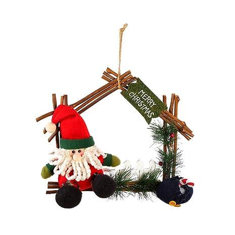 LYFWL Christmas Ornaments Christmas Wreath Polygon Rattan Ring Santa  Snowman Elk Doll House Type Features Wreath - Amazon.com: LYFWL Christmas Ornaments Christmas Wreath Polygon