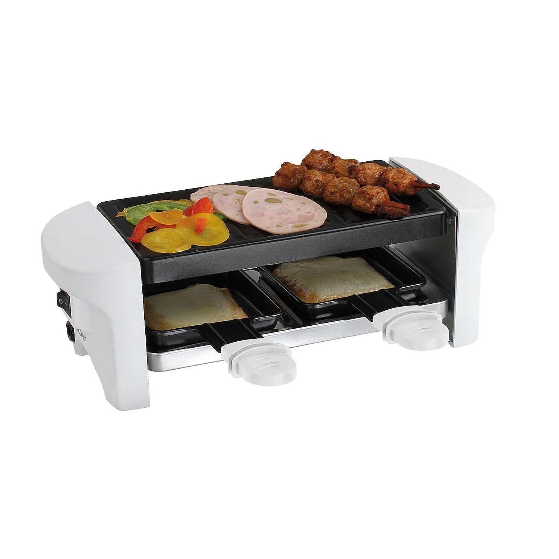 Tavolo Raclette per 2 persone bianco 2 Raclette (elettrico Grill, Grill Con Rivestimento Antiaderente, Indoor, Piccolo) DomoClip