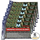 XL MYLATECH SURVIVAL Reusable Emergency Thermal Blankets |6 PACK | 62''x84'' Extra Large | (Camo)