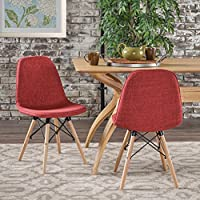 Callay Mid Century Modern Red Fabric Eiffel Chair