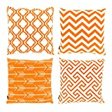 Home Decor Cotton Linen Watercolour Pattern Sofa Throw Pillow Case Set of 4 Cushion Cover 18 x 18 Inch