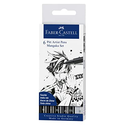 Faber-Castell Pitt Artist Pen Mangaka Wallet - 6 India Ink Manga Illustration Artist Markers (Black and Grey): Toys & Games