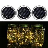 OUTOS Mason Jar Solar Lids, 3 Pcs Solar Mason Jar Lids With LED Light Beads for Glass Mason Jar,Garden,Courtyard, Wedding, Party, Kids Room,Bar,Cafe Light Decorations (Warm White)