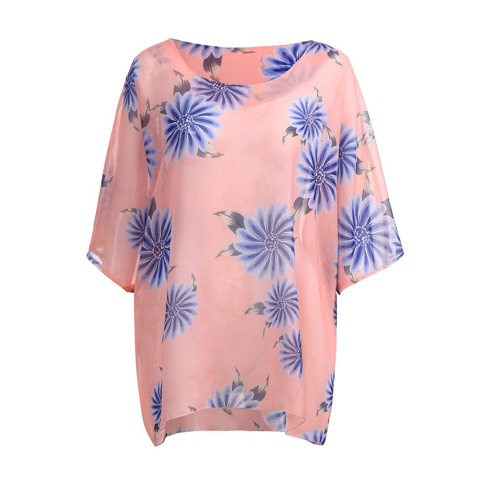 BYEEE Newest Arrivals Summer Round Neck 3/4 Sleeve Chiffon Beach Tunic Tops Casual T Shirt Loose Blouse for Women BYEEE007