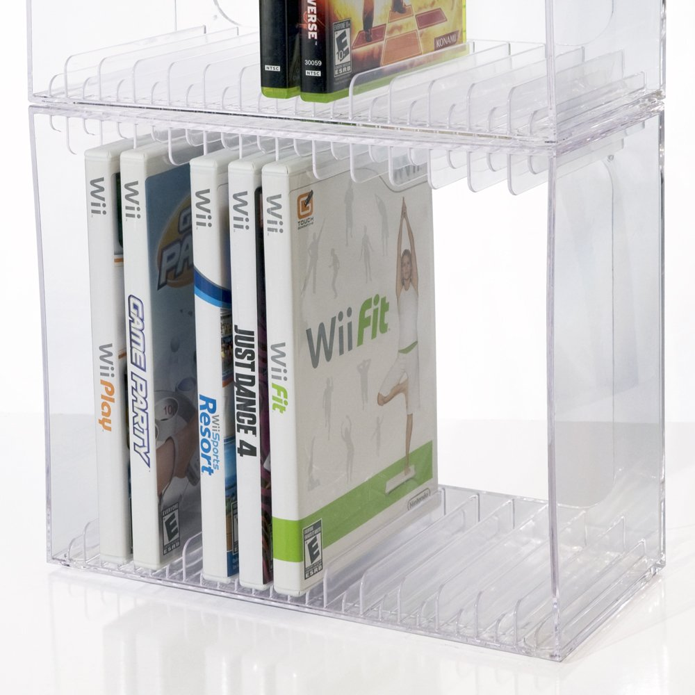 Amazon.com: Stackable Clear Plastic DVD Holder   Holds 14 Standard DVD  Cases: Kitchen U0026 Dining