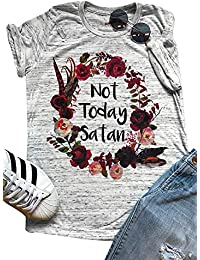 Womens Short Sleeve T-Shirt Not Today Satan Letters Printed Causal Tops Blouse