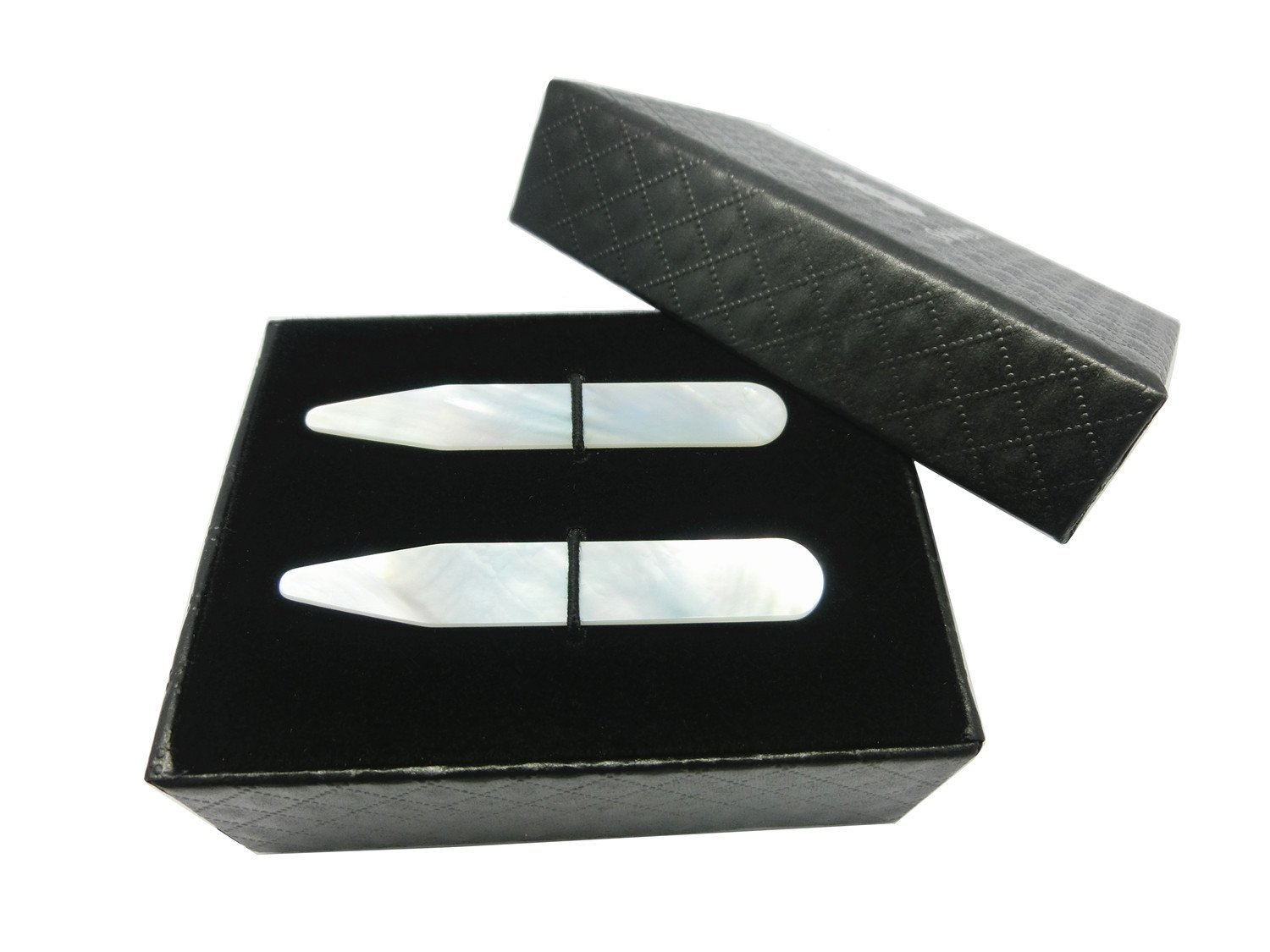 Shang Zun Mother of Pearl Shell Collar Stays with Box,2 Pcs