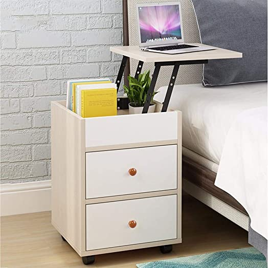 Nightstand,Lanyun End Table Side Table File Cabinet Storage Table for Home Office Bedside Cabinets with Sliding Drawer and Shelf Storage Cabinet Bedroom Bedside Removable Locker LiftingTable Cedar