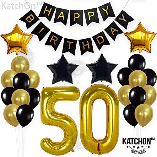 KATCHON Gold 50th Birthday Decorations Kit