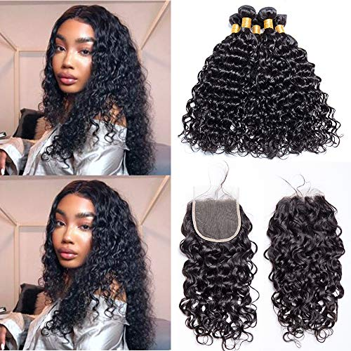 Maxine Malaysian Water Wave Wet And Wavy Virgin Human Hair Weave with Closure 4x4 Free Part Lace Closure with Baby Hair (16 18 20 with 14)
