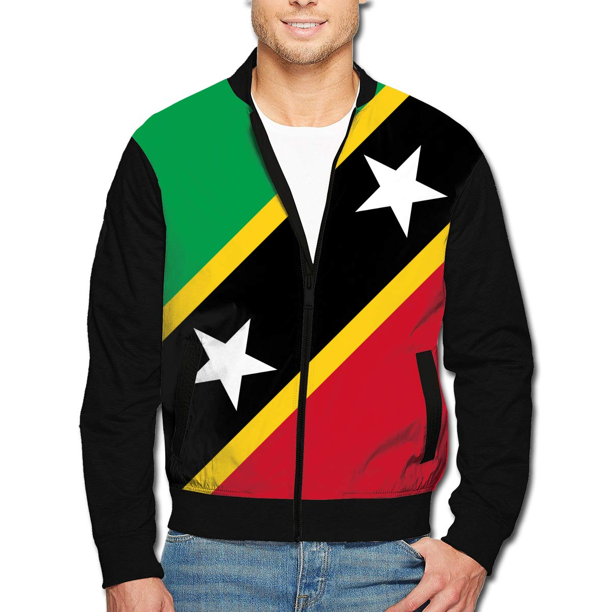 Saint Kitts and Nevis Flag Mens Bomber Jacket Casual Track Jacket Baseball Coat Stand-up Collar Jacket