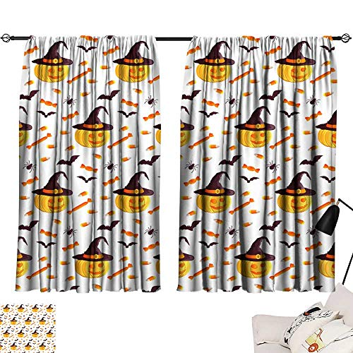 Customized Curtains Festive Seamless Pattern Halloween Characters Jack o Lantern Witch hat bat Spider Corn Candy Vector Illustration on a White Background Usable for Design Packaging Wallpaper Textil]()