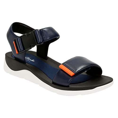 3573698ec Clarks Women s Dixie Leather Open Toe Casual Strappy Sandals Navy Leather  9.5 B(M) US  Buy Online at Low Prices in India - Amazon.in