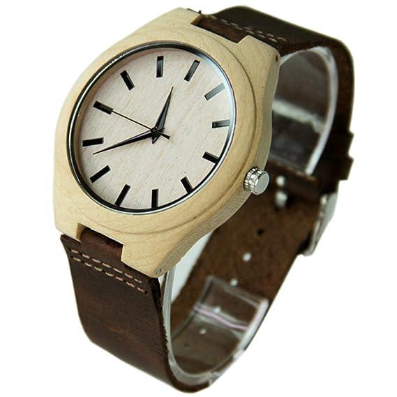 Naturaleza de madera reloj retro Para Hombre Relojes libre único personalizado grabado: Amazon.es: Relojes
