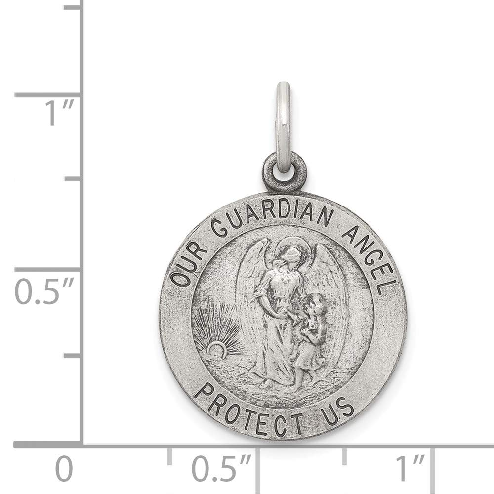 Mia Diamonds 925 Sterling Silver Solid Antiqued Guardian Angel Medal 25mm x 20mm
