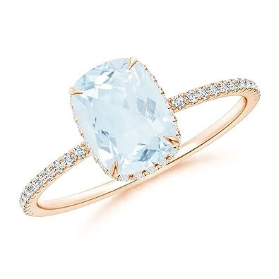 Angara Heart Shaped Aquamarine Halo Ring with Diamond Accents WqJbyz
