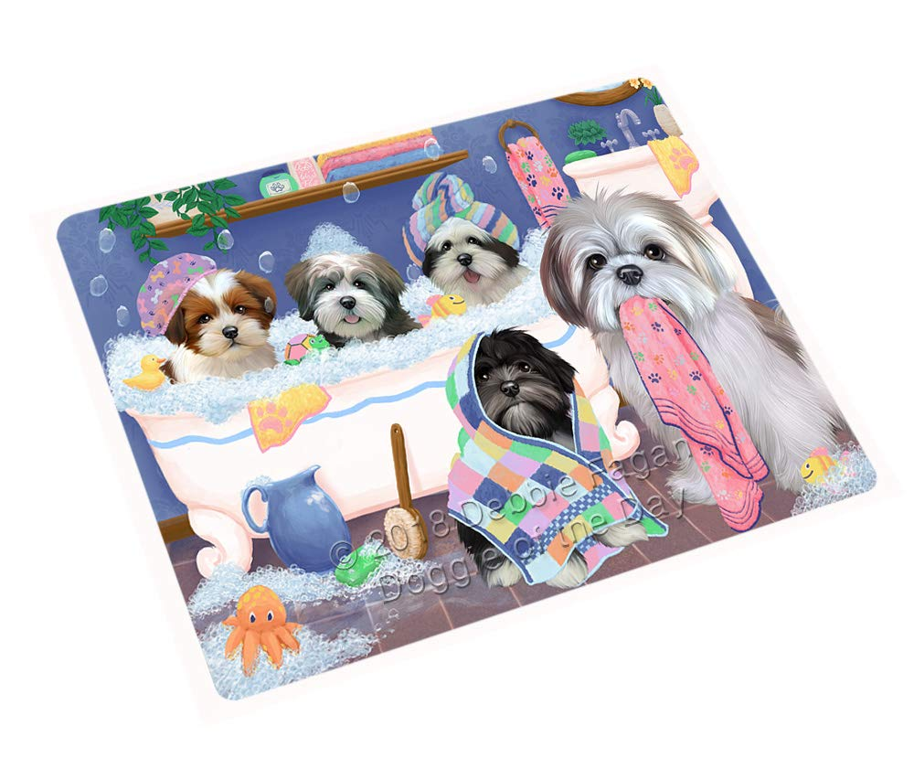 Rub A Dub Dogs in A Tub Lhasa Apsos Dog Blanket BLNKT130620 (50x60 Plush)