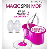 ALLWIN's Home Cleaning 360° Spin Floor Cleaning Easy Advance Tech Bucket PVC Mop & Rotating Steel Pole Head with 2 Microfiber Refill Head (Pink)