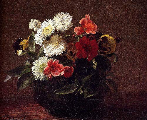 (Handmade Oil Painting by College Teachers - Flowers in A Clay Pot Flower Painter Henri Fantin Latour Canvas Art for Home Wall Decoration -Size 02)