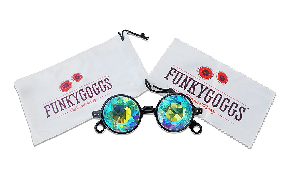 Kaleidoscope Glasses - Rainbow Prism Diffraction Glasses - Experience Amazing Vivid Colors by Funky Goggs (Black)