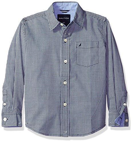 (Nautica Boys' Long Sleeve Gingham Woven Shirt, Sport Navy, Medium (5/6))