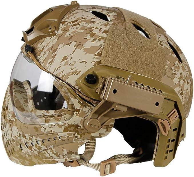 Lejie PJ Tactical Casco r/ápido y Cubierta Completa Protecci/ón Militar Ej/ército Combate Airsoft Paintball Casco con Gafas Protectoras M/áscara de protecci/ón