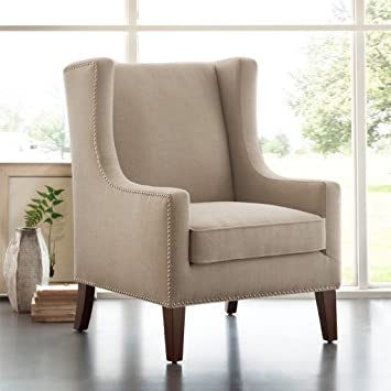 Amazon.com: Madison Park Barton Wing Chair   Linen   30.3W X 33.9D X 40.9H:  Home U0026 Kitchen