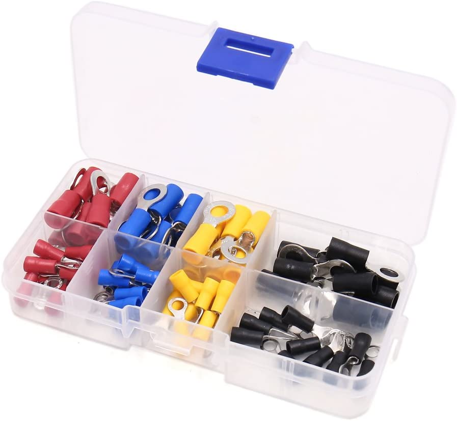 uxcell 80Pcs 22-16 12-10 Gauge Ring Spade Insulated Wire Crimp Terminals Connector Kit