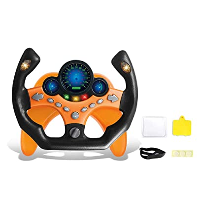 HEEGNPD Simulation Co-Pilot Steering Wheel Music Early Education Baby Develops Educational Toys Children's Car Girlfriend's Co-Pilot Gift,Orange: Home & Kitchen
