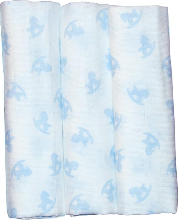 CABALLITO azul Pekebaby Gasas Muselina Algod/ón Estampadas pack 3 60 x 60 cm