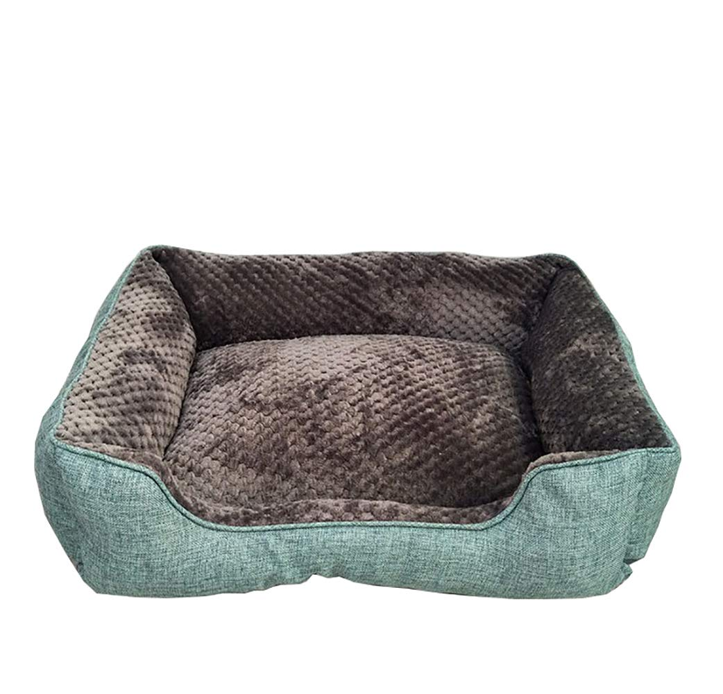 Green L 926925cm Green L 926925cm AHDA Pet Bed, Premium Plush Puppy, Kitten Bed, Faux Fur and Faux Suede, Fully Washable, Extremely Soft and Comfortable,Green,L 92  69  25cm