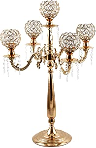 VINCIGANT 5 Arms Candelabra Home Holiday Decorative Centerpiece Gold Crystal Candle Holders for Dinner Party and Formal Event Centerpiece
