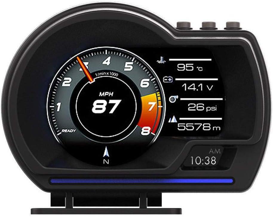 Porfeet OBD GPS Smart Gauge, Universal Car HUD OBD + GPS Head-up Display Instrumento LCD Inteligente con Soporte Ajustable Luz De Alarma Clear Fault Code Velocímetro