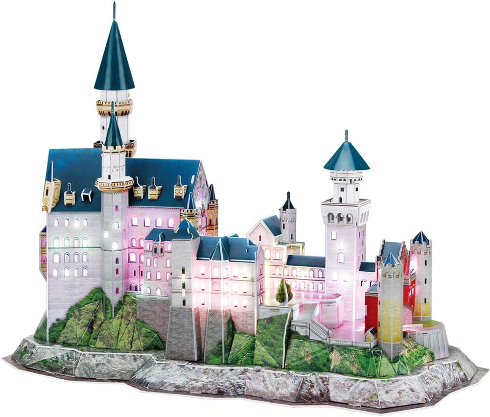 CubicFun 3D Neuschwanstein Castle Puzzles Germany LED Architectures Building Model Kits Toys for Adults Lighting Up in Night