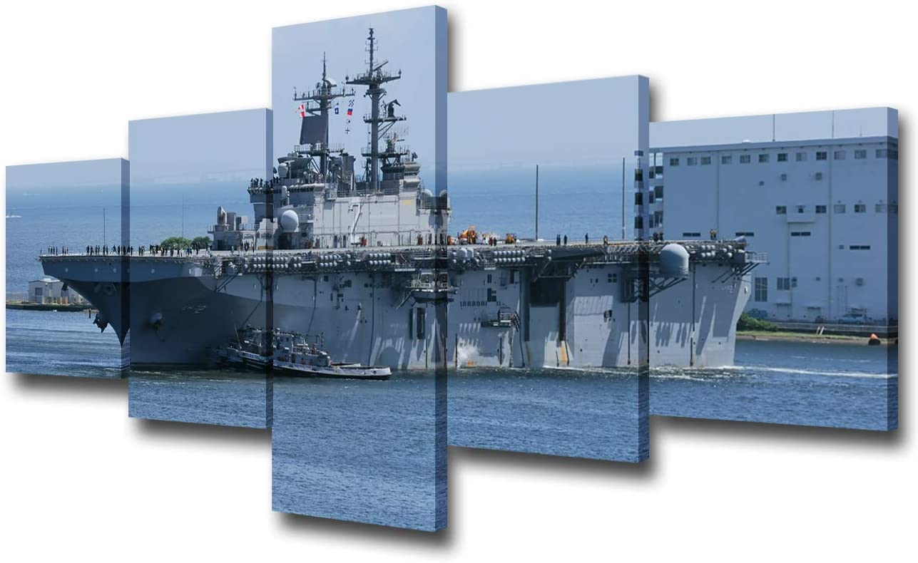 Native American Decor Military Ship Paintings Navy USS Essex Boat Paintings 5 Panels Canvas Wall Art Modern Artwork Living Room House Decorations Framed Ready to Hang Poster and Prints(50'W x 24''H)
