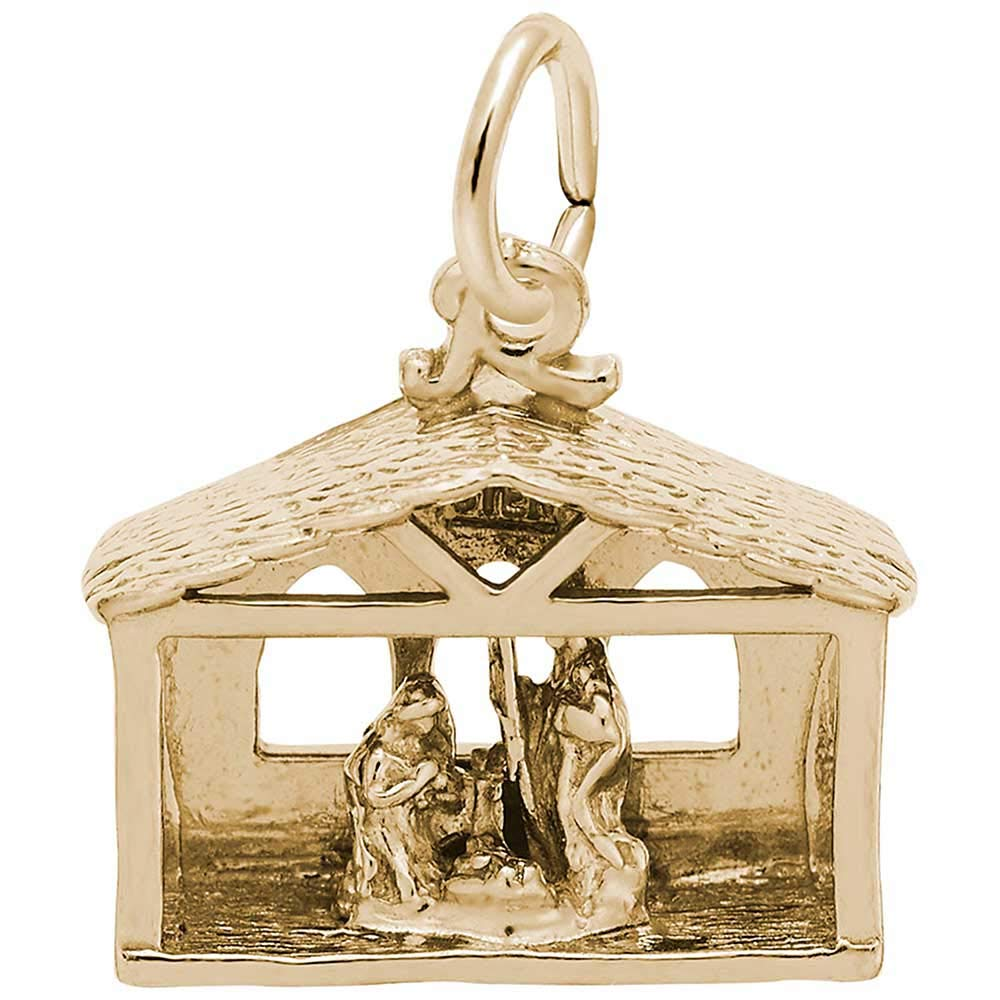 Rembrandt Charms Nativity Charm, Gold Plated Silver