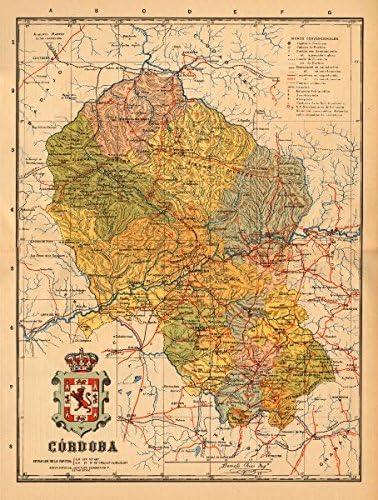 Córdoba. Cordoba. Andalucía. Mapa Antiguo de la Provincia. Alberto Martin – C1911 – Old Antiguo Mapa Vintage – Mapas de Impreso de España: Amazon.es: Hogar