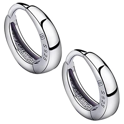 Meixao Fashion Jewelry 925 Sterling Silver Smooth Simple Hoop Stud Earrings for Women/Girl XqoGOc2s